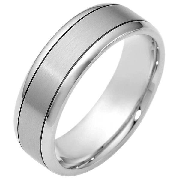 Item # 116451AG - Silver-925, comfort fit Wedding Band 7.0 mm wide. The center of the ring is a matte finish and the outer edges are polished. Different finishes may be selected or specified.