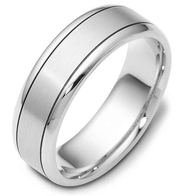 Item # 116451WE - 18 k white gold, hand made comfort fit Wedding Band 7.0 mm wide. The center of the ring is a matte finish and the outer edges are polished. Different finishes may be selected or specified.