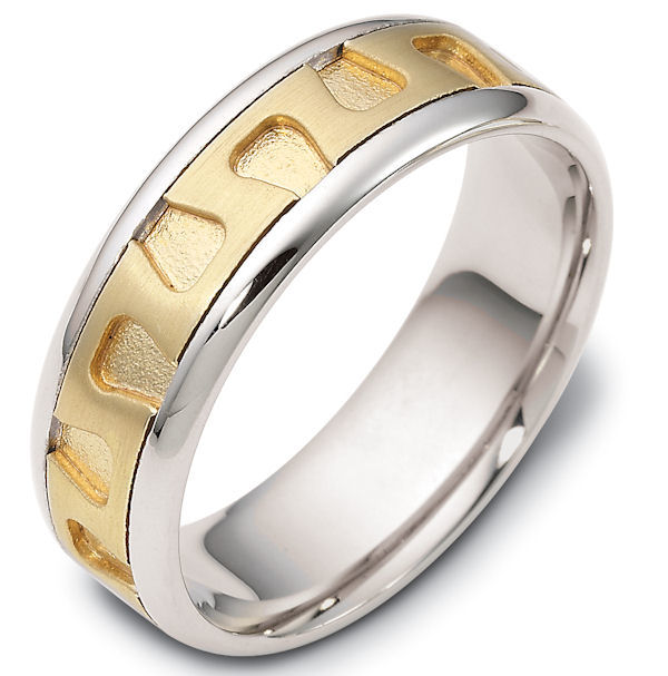 Item # 116461 - 14 kt Gold Two-Tone 7.0 mm Wide Comfort Hand Made Wedding Band. The center of the ring is a matte finish, the grooves in the center are a sandblast finish, and the outer edges are polished. Different finishes may be selected or specified.