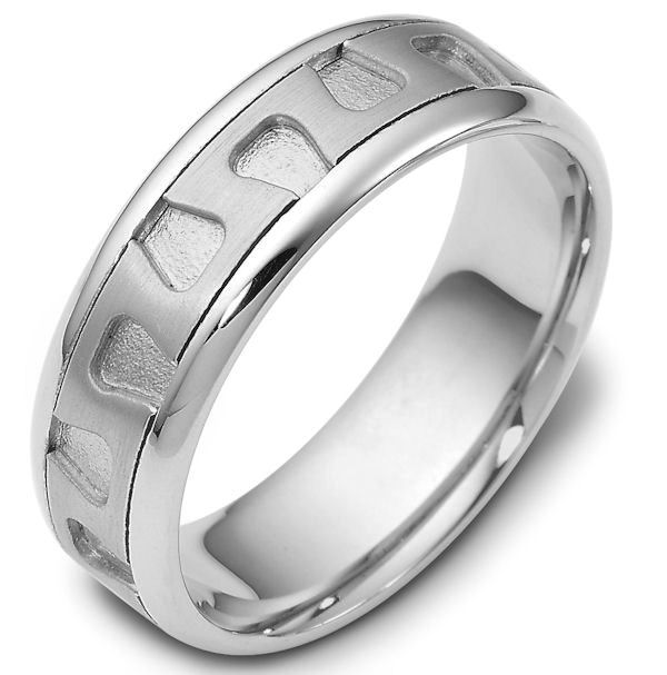 Item # 116461W - 14 kt white gold, 7.0 mm Wide Comfort Hand Made Wedding Band. The center of the ring is a matte finish, the grooves in the center are a sandblast finish, and the outer edges are polished. Different finishes may be selected or specified.