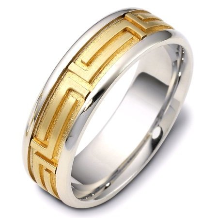 Item # 116471E - Gold Comfort Fit  Wedding Band Greek Key View-1