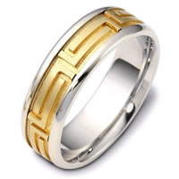 Gold Comfort Fit  Wedding Band Greek Key