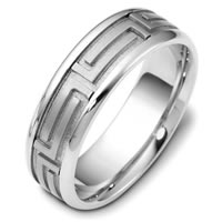 Greek Key Design Gold, Comfort Fit  Wedding Band