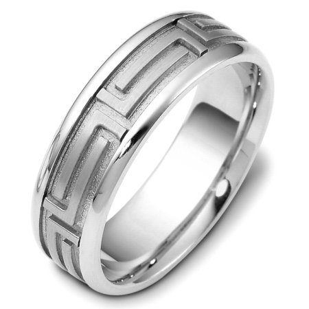 Item # 116471PD - Palladium 7.0 mm wide, comfort fit, carved with Greek key wedding band. The center of the ring is a satin matte finish and the outer edges are polished. Different finishes may be selected or specified.