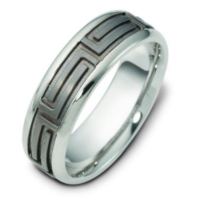 Item # 116471TG - 14 kt white gold and titanium, comfort fit Wedding Band 7.0 mm wide. The center of the ring is a satin matte finish and the outer edges are polished. Different finishes may be selected or specified.