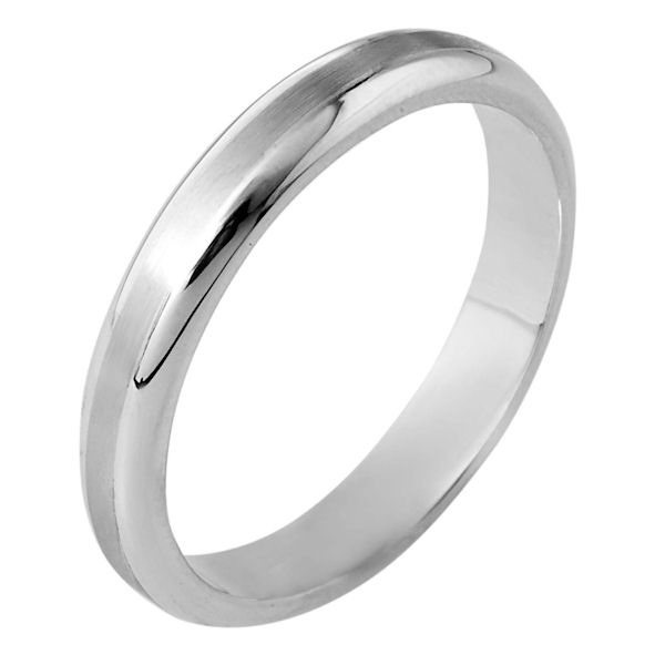 Item # 116491W - 14kt white gold, hand made comfort fit Wedding Band 3.5 mm wide. The center of the ring is a matte finish and the outer edges are polished. Different finishes may be selected or specified.