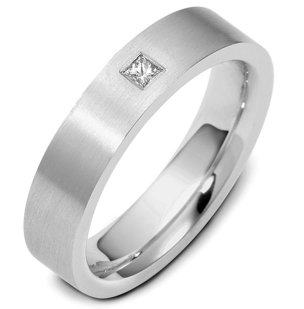 Item # 116541PP - Platinum, comfort fit,  5.5 mm wide, diamond ring. Diamond weighs 0.10 ct and graded as VS1 in Clarity G in Color. The whole ring is a matte finish. Different finishes may be selected or specified.