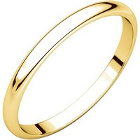18K Gold 2.0 mm Wide Women Plain Wedding Ring