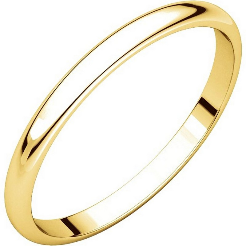 Item # 116761E - 18 kt Gold Plain 2.0 mm Wide Half Round Wedding Band. The whole ring is a polished finish. Different finishes may be selected or specified.