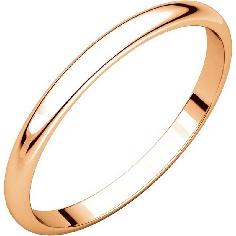 Item # 116761R - 14 kt Rose Gold Plain 2.0 mm Wide Half Round Wedding Band. The whole ring is a polished finish. Different finishes may be selected or specified.