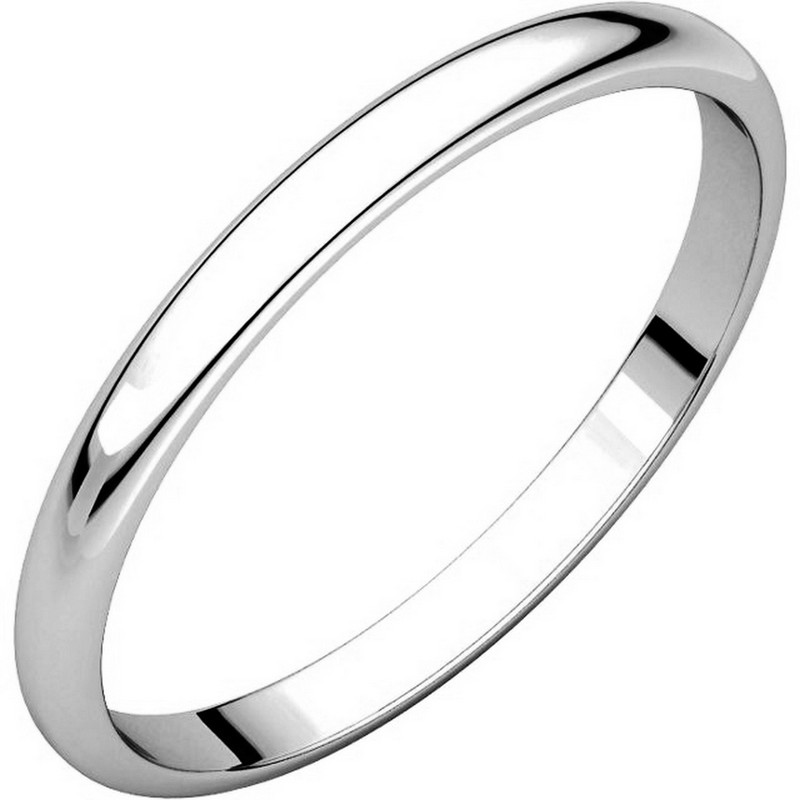 Item # 116761W - 14 kt White Gold Plain 2.0 mm Wide Half Round Wedding Band. The whole ring is a polished finish. Different finishes may be selected or specified.