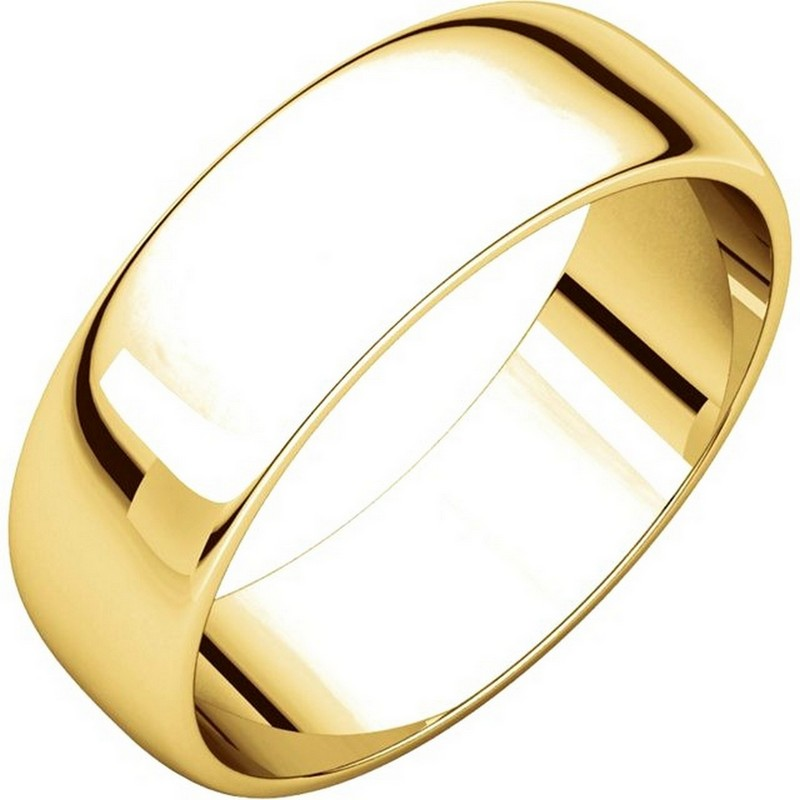 Item # 116821E - 18 kt Gold Plain 6.0 mm Wide Half Round Wedding Band. The whole ring is a polished finish. Different finishes may be selected or specified.