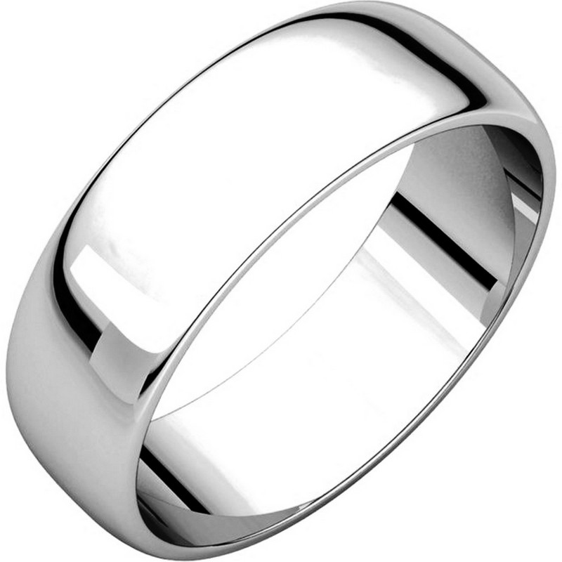 Item # 116821WE - 18 kt White Gold Plain 6.0 mm Wide Half Round Wedding Band. The whole ring is a polished finish. Different finishes may be selected or specified.
