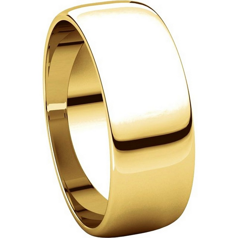 Item # 116831 View 5 - 14K Gold 7mm Wide  Wedding Rings