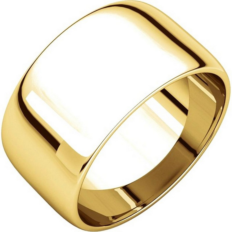Item # 11683110E - 18 Kt yellow gold, 10.0 mm wide, half round plain wedding band. The whole ring is a polished finish. Different finishes may be selected or specified.