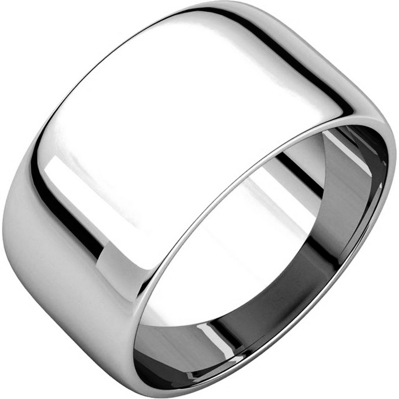 Item # 11683110W - 14 Kt white gold, 10.0 mm wide, half round plain wedding band. The whole ring is a polished finish. Different finishes may be selected or specified.