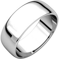 White Gold Plain Domed Wedding Ring
