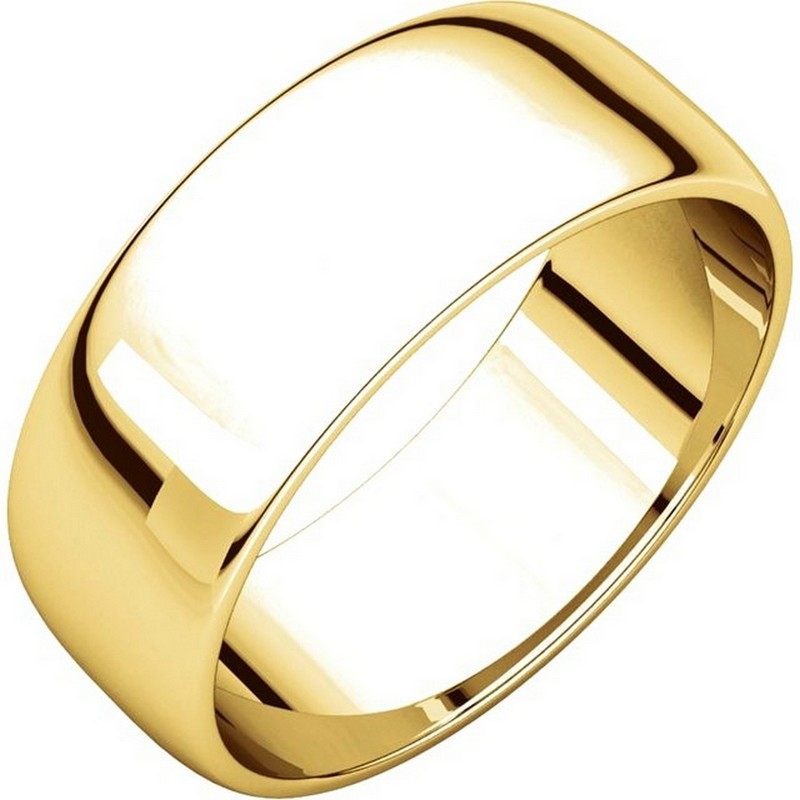 Item # 116831E - 18 kt Gold Plain 7.0 mm Wide Half Round Wedding Band. The whole ring is a polished finish. Different finishes may be selected or specified.