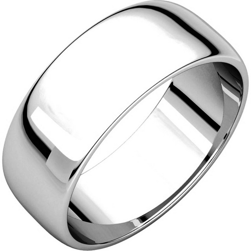 Item # 116831W - 14 kt White Gold Plain 7.0 mm Wide Half Round Wedding Band. The whole ring is a polished finish. Different finishes may be selected or specified.