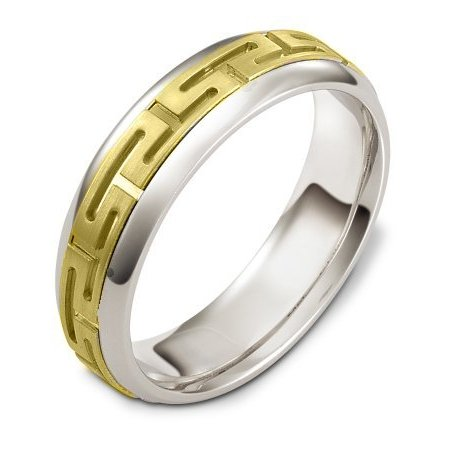 Item # 116941 - 14 kt two-tone hand made comfort fit Wedding Band 5.0 mm wide. The center of the ring has carvings that pattern around the whole band. It is a matte finish in the center and polished on the outer edges. Different finishes may be selected or specified.