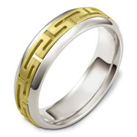 Item # 116941E - 18kt Hand Made Two-Tone Wedding Rings