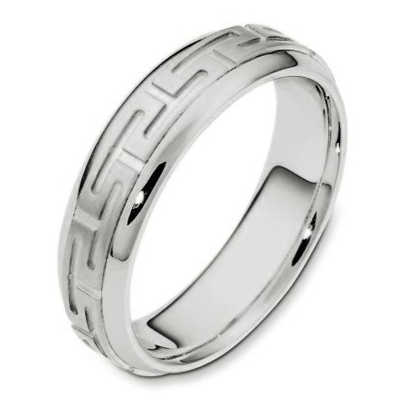 Item # 116941PP - Platinum hand made comfort fit Wedding Band 5.0 mm wide. The center of the ring has carvings that pattern around the whole band. It is a matte finish in the center and polished on the outer edges. Different finishes may be selected or specified.