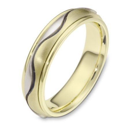 Item # 116961 - 14 kt two-tone hand made comfort fit Wedding Band 6.0 mm wide. There is one carved curvy line in the center. It is a matte finish in the center and polished finish on the outer edges. Different finishes may be selected or specified.