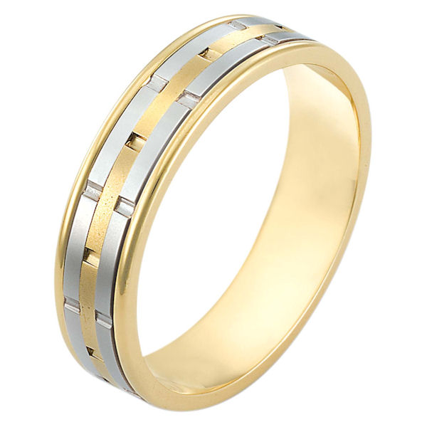 Item # 116971E - 18 kt two-tone hand made comfort fit Wedding Band 5.0 mm wide. There are carved notches around the whole band. The center of the ring is a matte finish and the outer edges are polished. Different finishes may be selected or specified.
