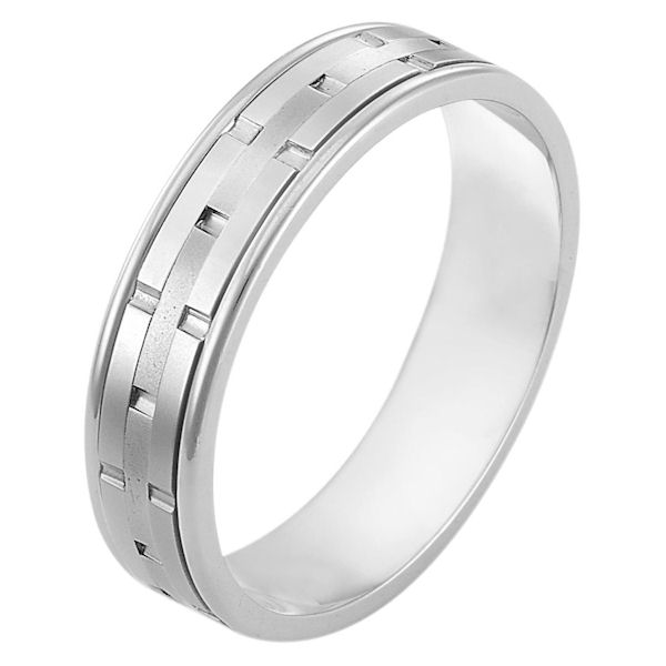 Item # 116971W - 14 kt white gold,hand made comfort fit Wedding Band 5.0 mm wide. There are carved notches around the whole band. The center of the ring is a matte finish and the outer edges are polished. Different finishes may be selected or specified.