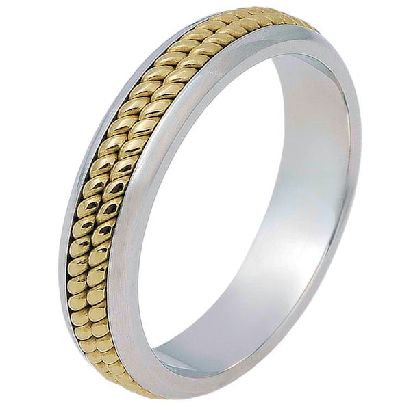 Item # 117051 - 14 kt two-tone hand made comfort fit Wedding Band 5.0 mm wide. There are two hand made ropes in the center. The whole ring is a polished finish. Different finishes may be selected or specified.