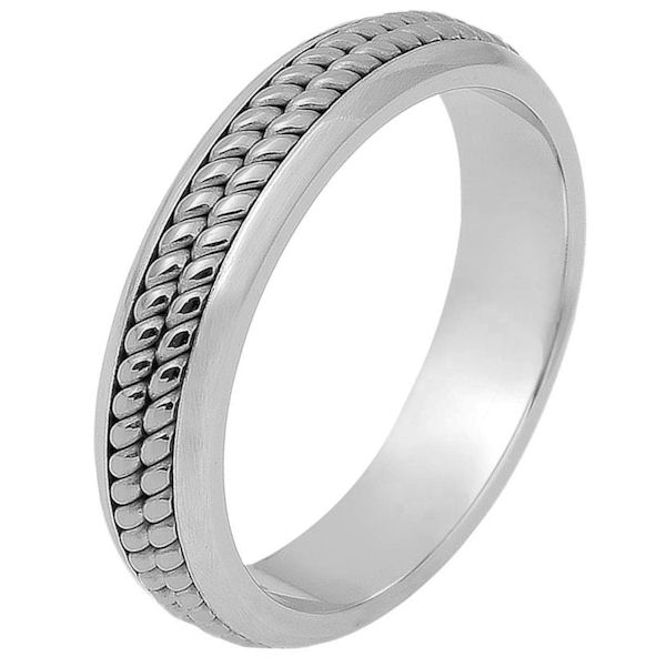 Item # 117051PP - Platinum hand made comfort fit Wedding Band 5.0 mm wide. There are two hand made ropes in the center. The whole ring is a polished finish. Different finishes may be selected or specified.