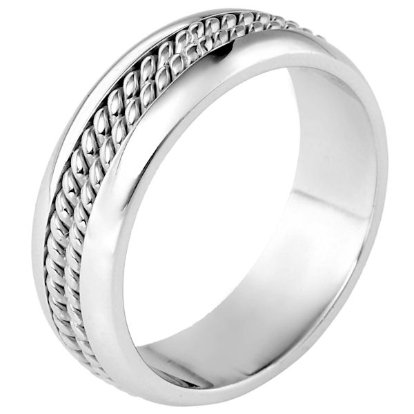 Item # 117061PP - Platinum hand made comfort fit Wedding Band 7.0 mm wide. There are two hand made ropes in the center. The whole ring is a polished finish. Different finishes may be selected or specified.