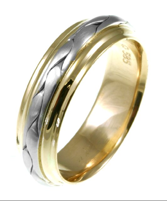 Item # 117091 - 14 kt two-tone hand made comfort fit Wedding Band 7.0 mm wide. The braid in the center is handcrafted and is a matte finish. The outer edges are polished. Different finishes may be selected or specified.