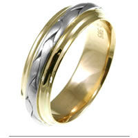 Item # 117091E - Two-Tone Wedding Band 18 kt Hand Made