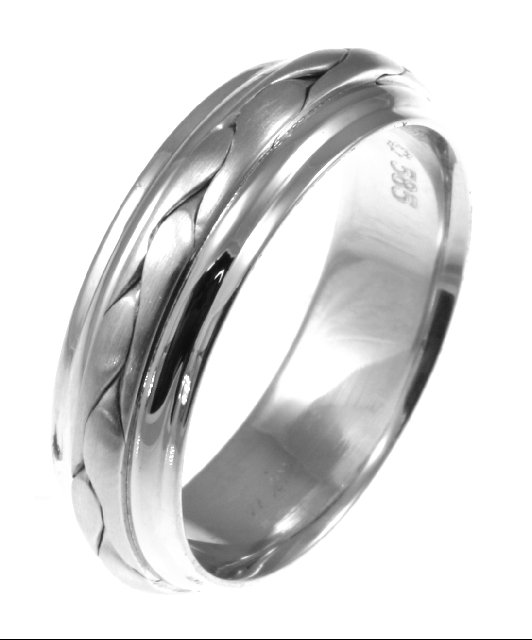 Item # 117091W - 14 kt white gold, hand made comfort fit Wedding Band 7.0 mm wide. The braid in the center is handcrafted and is a matte finish. The outer edges are polished. Different finishes may be selected or specified.