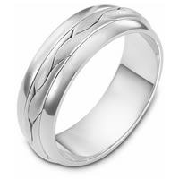 Item # 117101W - 14 kt White Gold Hand Made Wedding Band