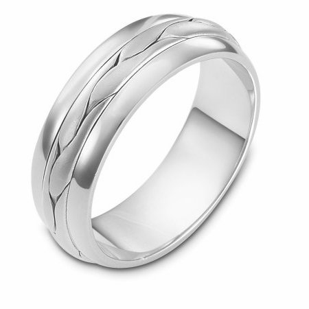 Item # 117101W - 14 kt white gold, hand made comfort fit Wedding Band 7.0 mm wide. The braid in the center is handcrafted and is a brush finish. The outer edges are polished. Different finishes may be selected or specified.