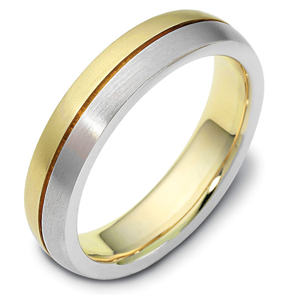 Item # 117111 - 14 kt two tone gold Wedding Band 6.0 mm wide. The ring is a brush finish. Different finishes may be selected or specified.