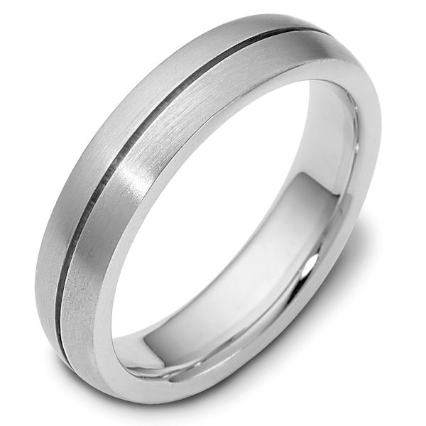 Item # 117111WE - 18 kt white gold Wedding Band 6.0 mm wide. The ring is a brush finish. Different finishes may be selected or specified.