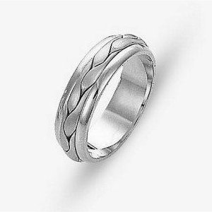 Item # 117131PP - Platinum hand made comfort fit Wedding Band 6.0 mm wide. The braid in the center is hand crafted and is a matte finish. The outer edges are polished. Different finishes may be selected or specified.