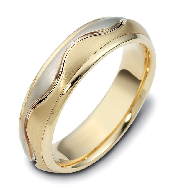 Item # 117141 - 14kt Two-tone gold hand made, comfort fit, 6.0mm wide wedding band. The center portion has a curvy carved line in the band and has a matte finish. The edges are polished. Different finishes may be selected or specified.