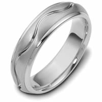 18K White Gold Hand Made Wedding Band