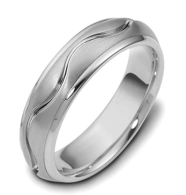Item # 117141W - 14 kt white gold hand made, comfort fit, 6.0mm wide wedding band. The center portion has a curvy carved line in the band and has a matte finish. The edges are polished. Different finishes may be selected or specified.
