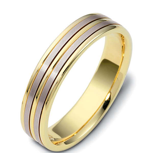 Item # 117161 - 14 kt two-tone hand made comfort fit Wedding Band 5.0 mm wide. The two flat pieces in the center are matte finish and the rest is polished. Different finishes may be selected or specified.