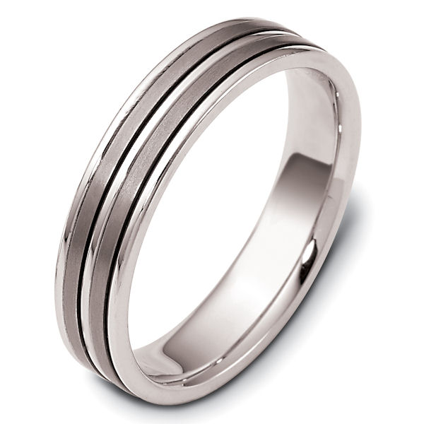 Item # 117161TG - 14 kt white gold and titanium, comfort fit Wedding Band 5.0 mm wide. The two flat pieces in the center are matte finish and the rest is polished. Different finishes may be selected or specified.