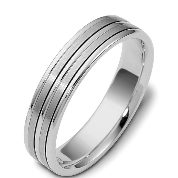 Item # 117161W - 14 kt white gold, hand made comfort fit Wedding Band 5.0 mm wide. The two flat pieces in the center are matte finish and the rest is polished. Different finishes may be selected or specified.