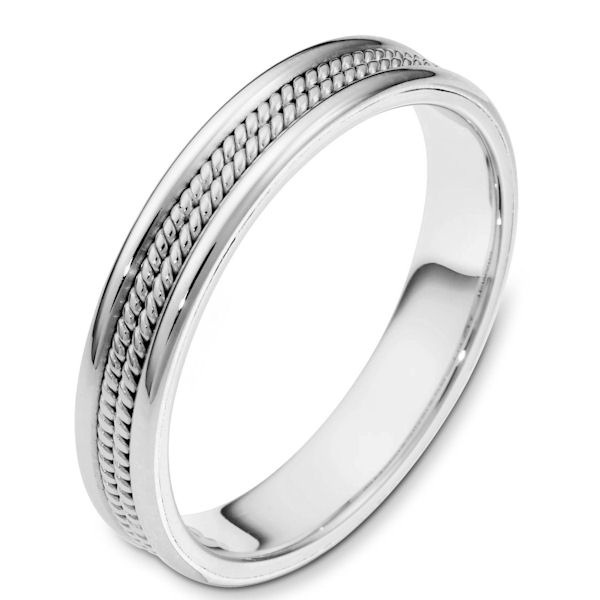 Item # 117171W - 14 kt white gold, hand made Wedding Band 4.0 mm wide. There two hand made ropes in the center.The whole ring is a polished finish. Different finishes may be selected or specified.