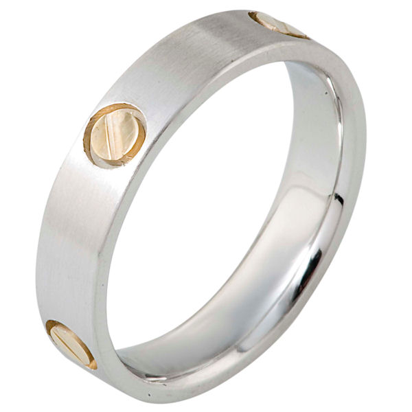 Item # 117181 - 14 kt two-tone modern comfort fit Wedding Band 5.0 mm wide. The ring has fasteners in the shape of screws around the band. The whole ring is a matte finish.