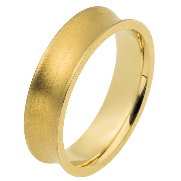 Item # 117191E - 18K yellow gold, 6.0 mm wide, comfort fit wedding band. The ring is curved inward with a matte finish. Different finishes may be selected or specified.