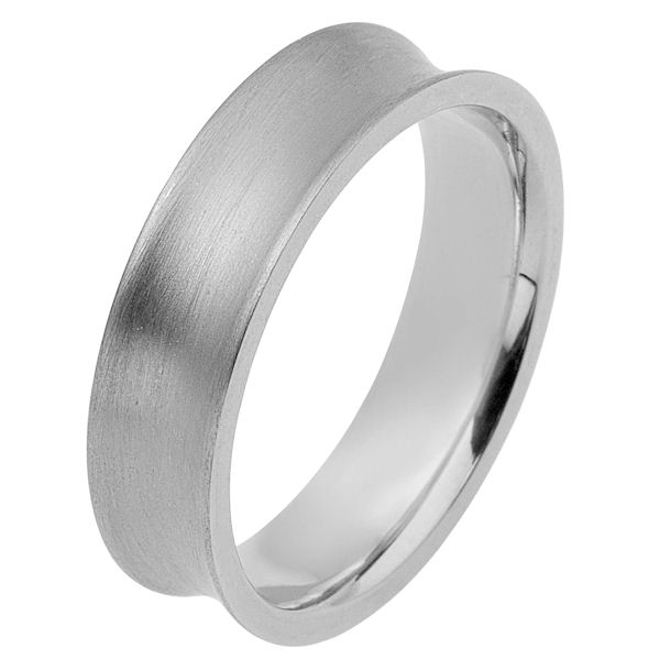 Item # 117191WE - 18K white gold, 6.0 mm wide, comfort fit wedding band. The ring is curved inward with a matte finish. Different finishes may be selected or specified.